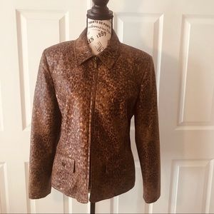 Alfred Dunner Womens Jacket Brown Distressed 14 P